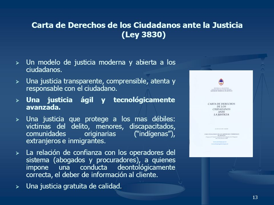 Carta de Derechos de los Ciudadanos ante la Justicia (Ley 3830)