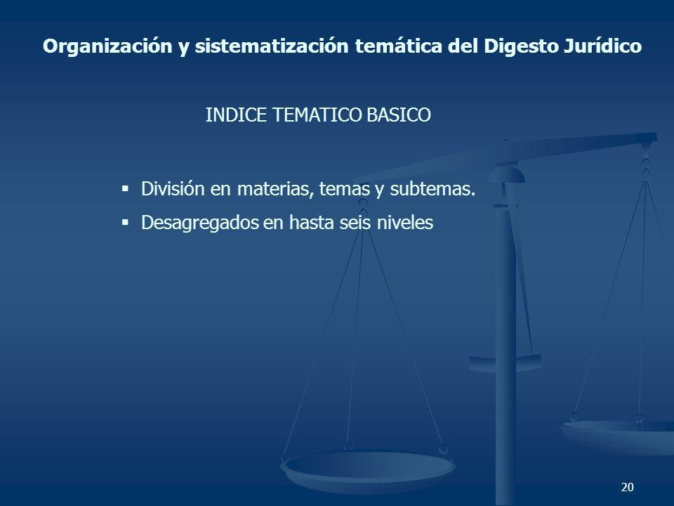 Organización y sistematización temática del Digesto Jurídico