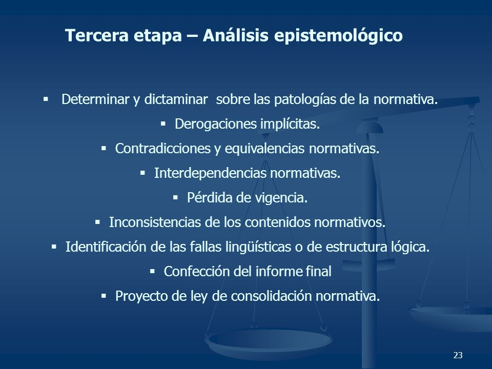 Tercera etapa – Análisis epistemológico