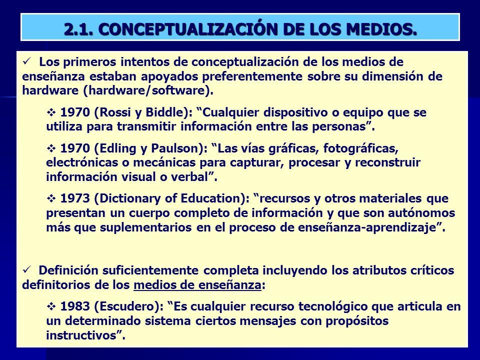 2.1. CONCEPTUALIZACIÓN DE LOS MEDIOS.