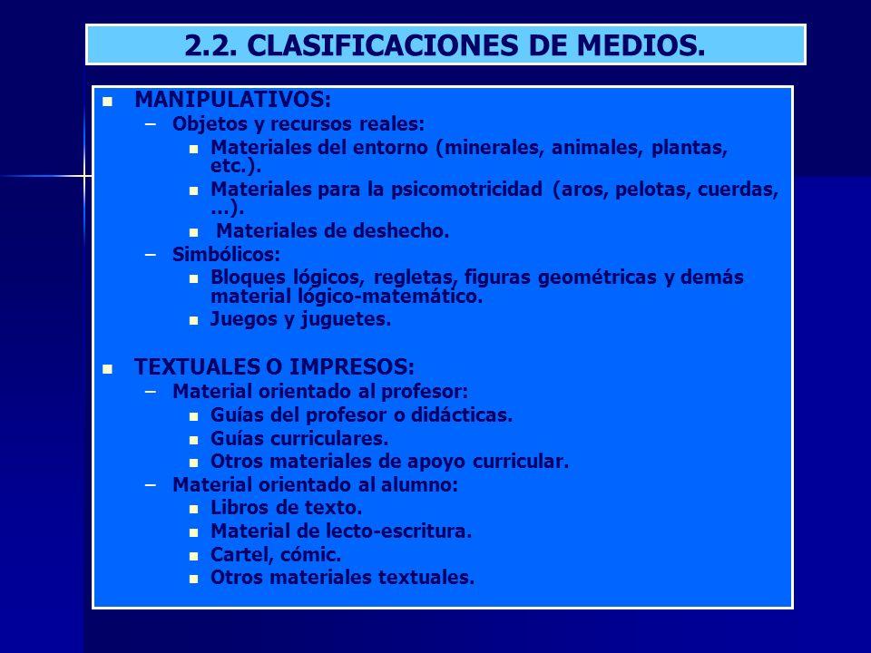 2.2. CLASIFICACIONES DE MEDIOS.