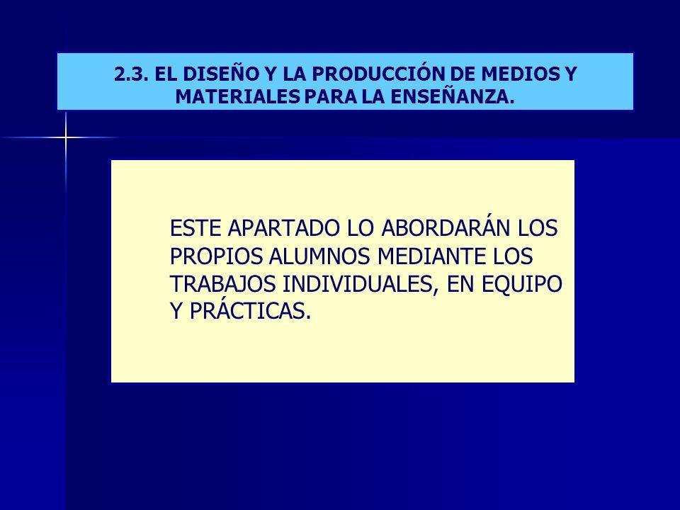 2.3. EL DISEÑO Y LA PRODUCCIÓN DE MEDIOS Y MATERIALES PARA LA ENSEÑANZA.