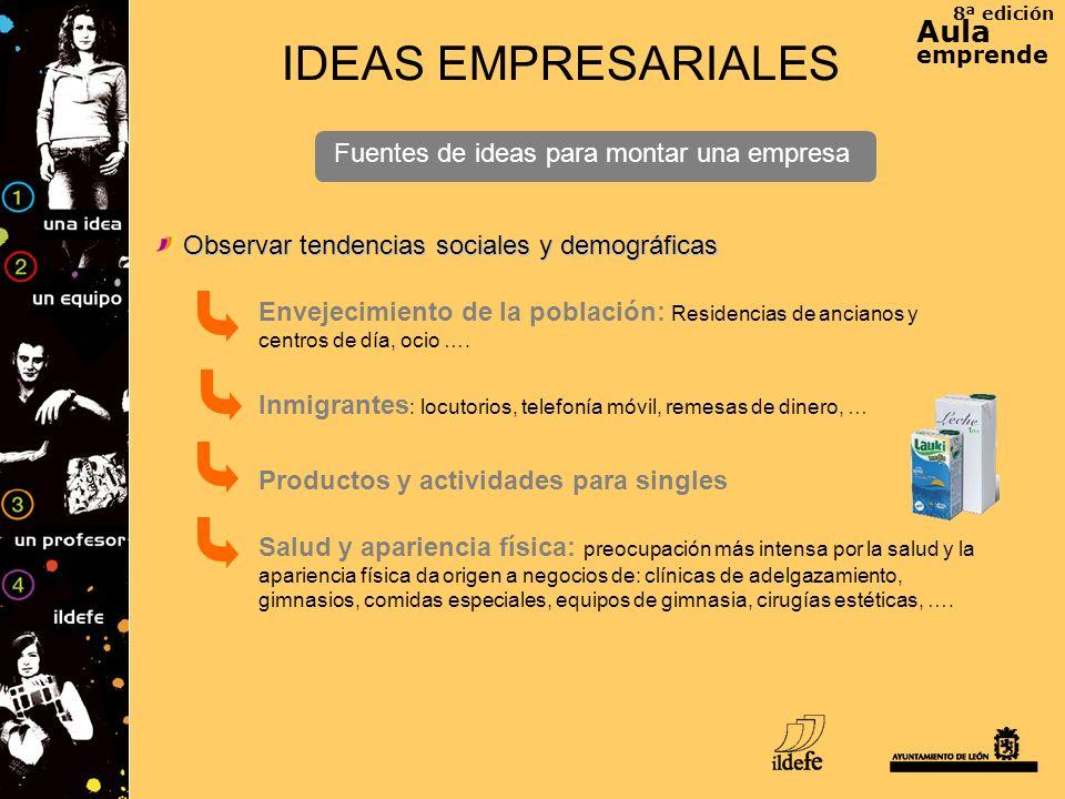 IDEAS EMPRESARIALES Aula Fuentes de ideas para montar una empresa