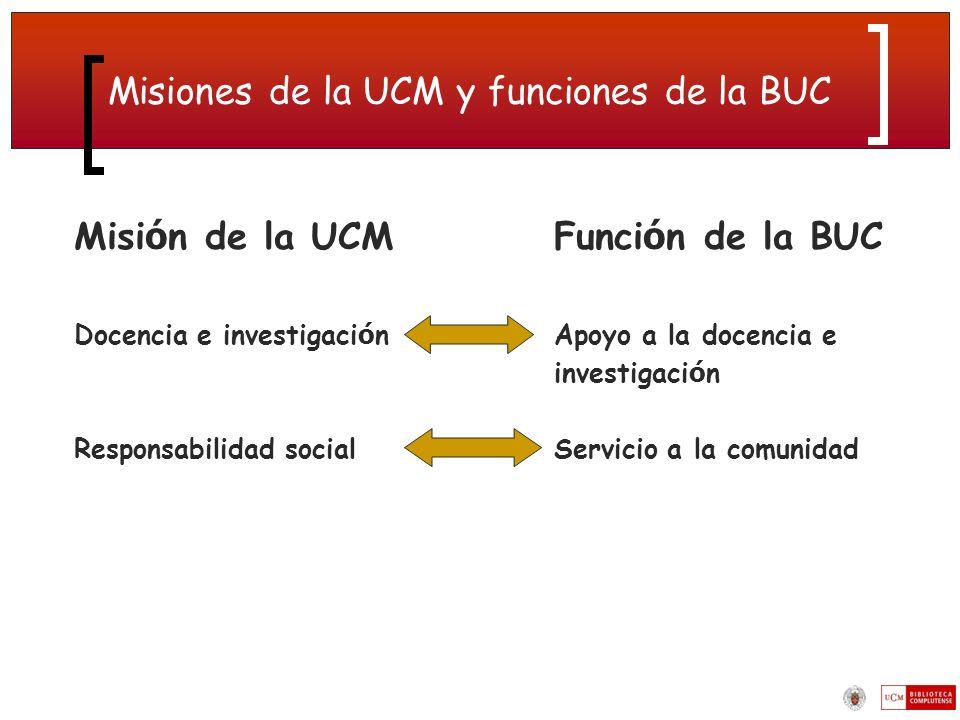 Misiones de la UCM y funciones de la BUC
