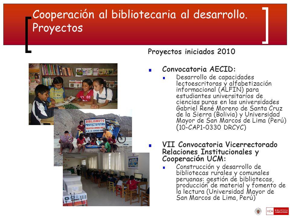 Cooperación al bibliotecaria al desarrollo. Proyectos