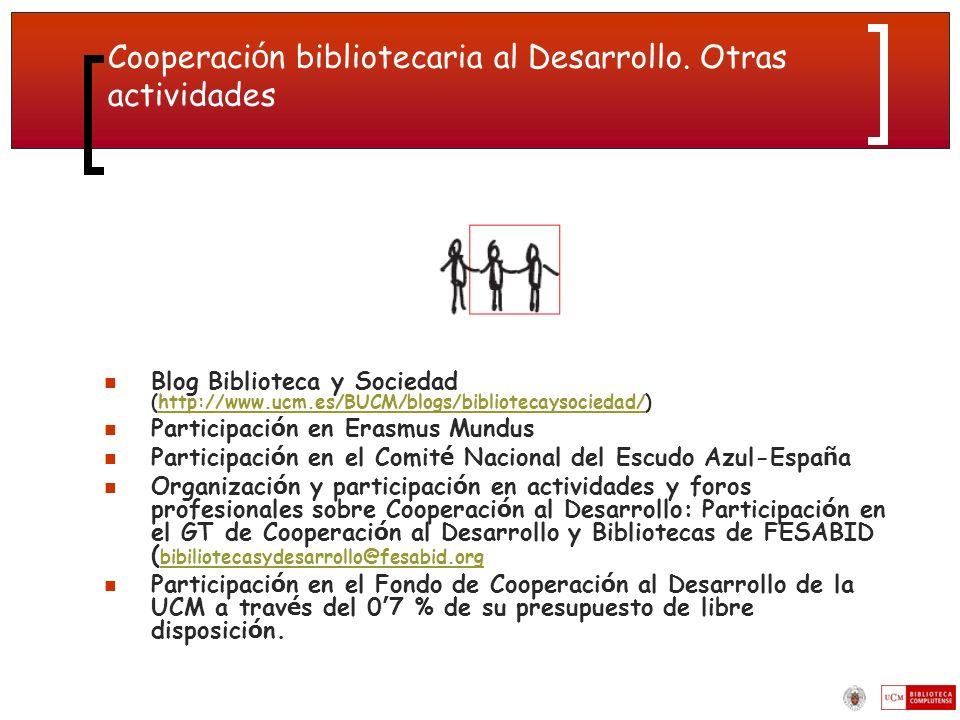 Cooperación bibliotecaria al Desarrollo. Otras actividades