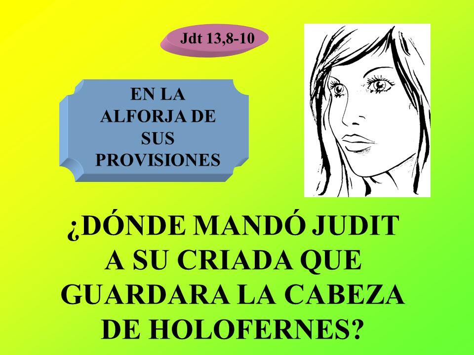 ¿DÓNDE MANDÓ JUDIT A SU CRIADA QUE GUARDARA LA CABEZA DE HOLOFERNES