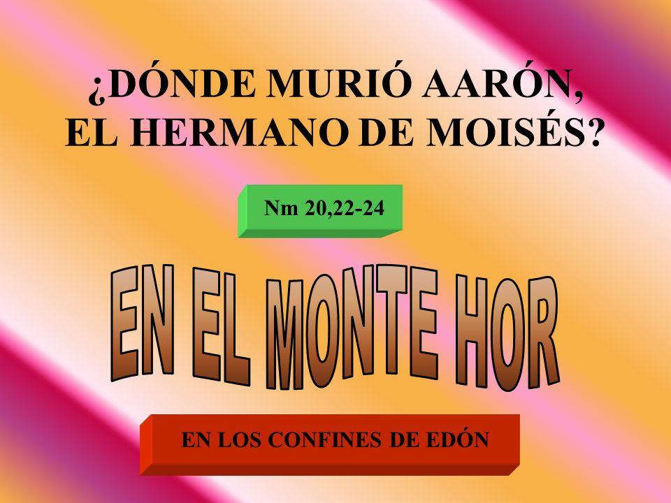 ¿DÓNDE MURIÓ AARÓN, EL HERMANO DE MOISÉS