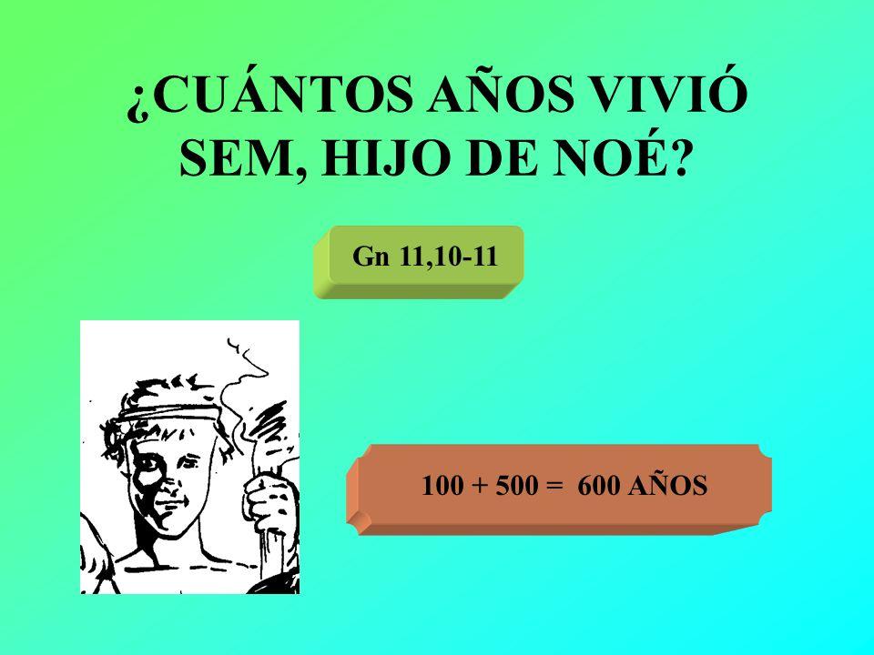 ¿CUÁNTOS AÑOS VIVIÓ SEM, HIJO DE NOÉ