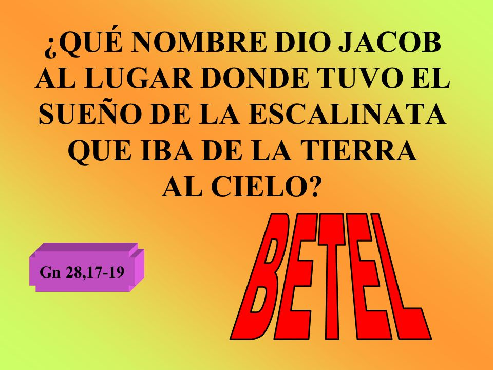¿QUÉ NOMBRE DIO JACOB AL LUGAR DONDE TUVO EL SUEÑO DE LA ESCALINATA QUE IBA DE LA TIERRA AL CIELO