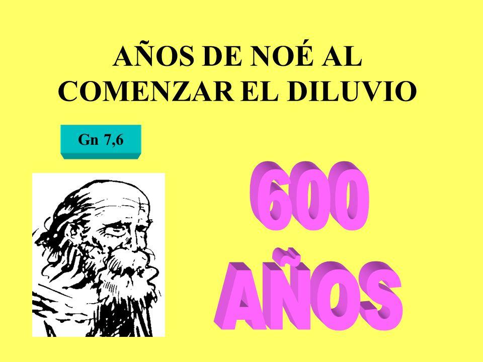 AÑOS DE NOÉ AL COMENZAR EL DILUVIO