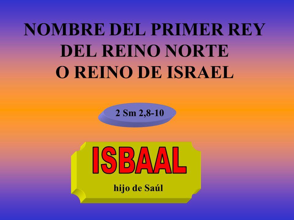 NOMBRE DEL PRIMER REY DEL REINO NORTE O REINO DE ISRAEL
