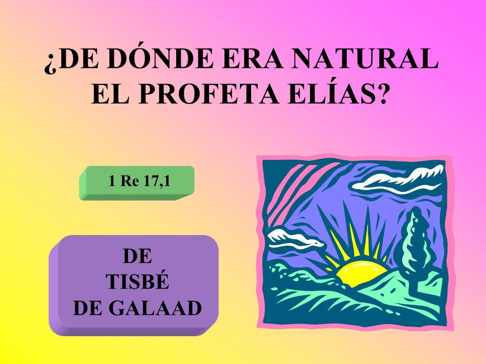 ¿DE DÓNDE ERA NATURAL EL PROFETA ELÍAS