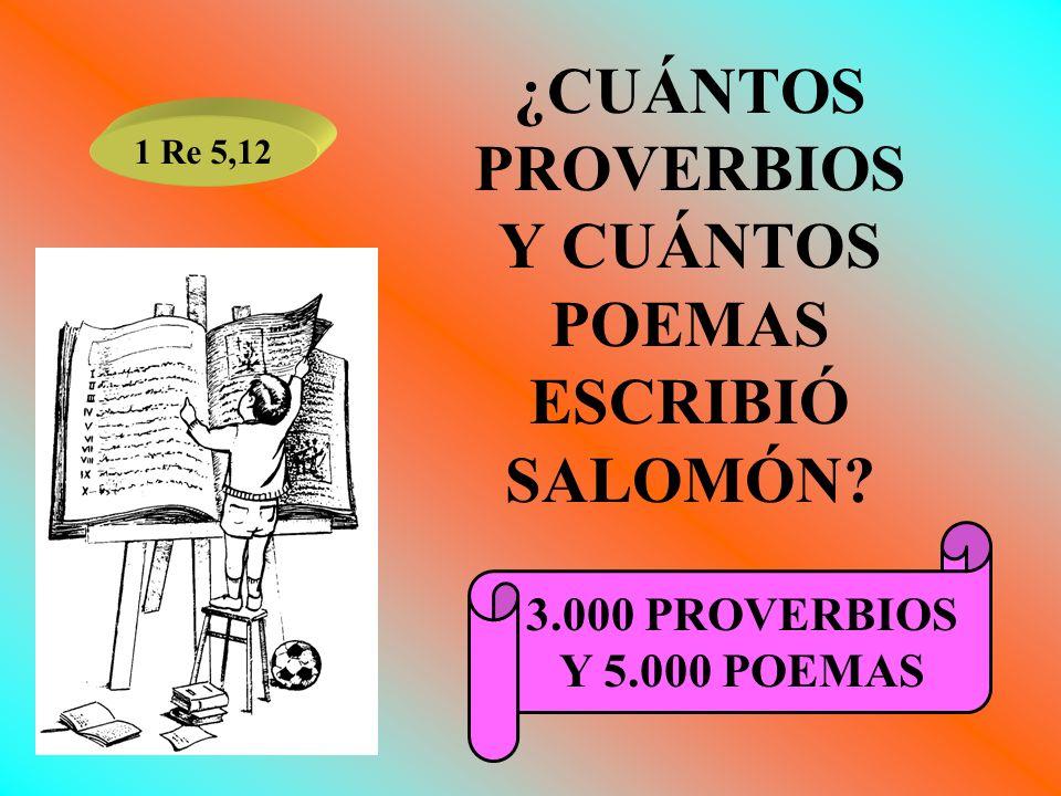 ¿CUÁNTOS PROVERBIOS Y CUÁNTOS POEMAS ESCRIBIÓ SALOMÓN