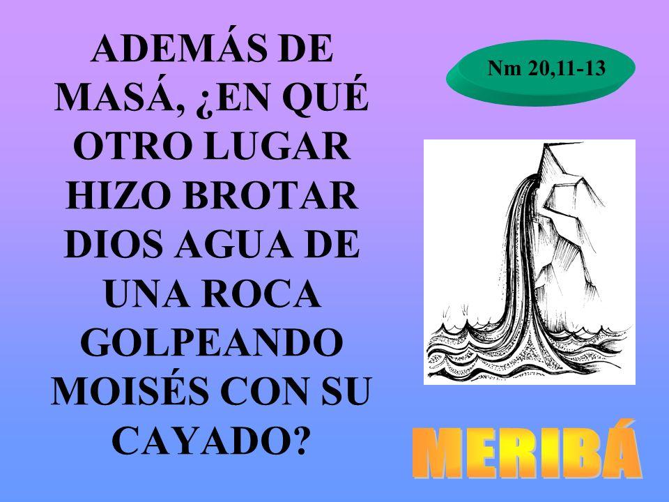 ADEMÁS DE MASÁ, ¿EN QUÉ OTRO LUGAR HIZO BROTAR DIOS AGUA DE UNA ROCA GOLPEANDO MOISÉS CON SU CAYADO