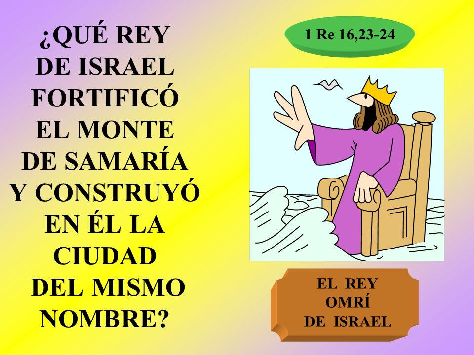 1 Re 16,23-24 ¿QUÉ REY DE ISRAEL FORTIFICÓ EL MONTE DE SAMARÍA Y CONSTRUYÓ EN ÉL LA CIUDAD DEL MISMO NOMBRE