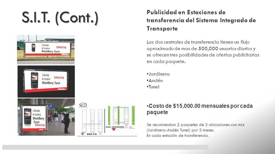 S.I.T. (Cont.)Publicidad en Estaciones de transferencia del Sistema Integrado de Transporte.