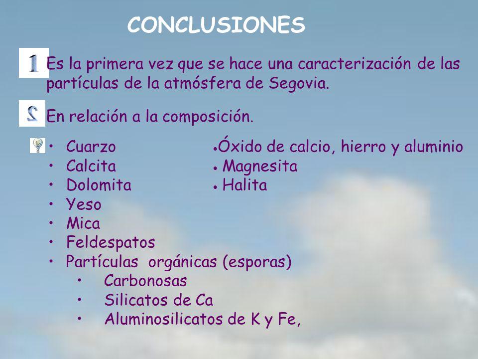 CONCLUSIONES Es la primera vez que se hace una caracterización de las partículas de la atmósfera de Segovia.