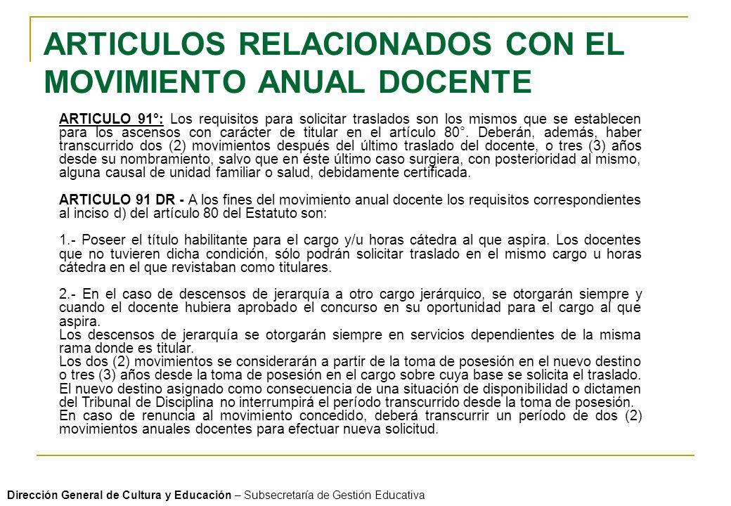 ARTICULOS RELACIONADOS CON EL MOVIMIENTO ANUAL DOCENTE
