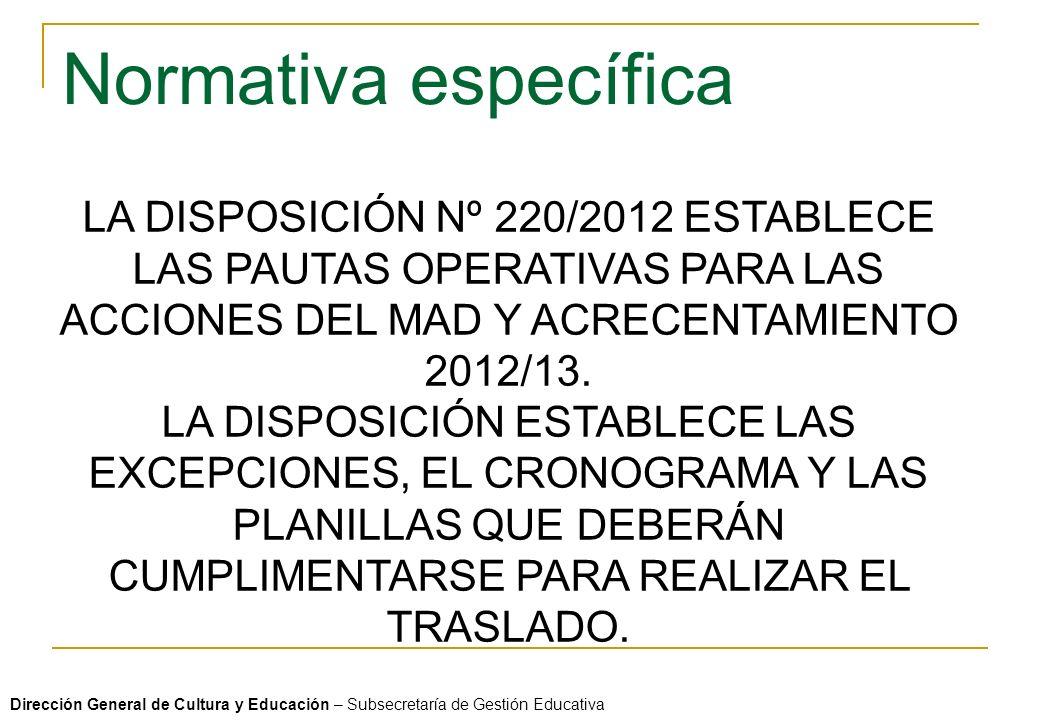 Normativa específica LA DISPOSICIÓN Nº 220/2012 ESTABLECE LAS PAUTAS OPERATIVAS PARA LAS ACCIONES DEL MAD Y ACRECENTAMIENTO 2012/13.