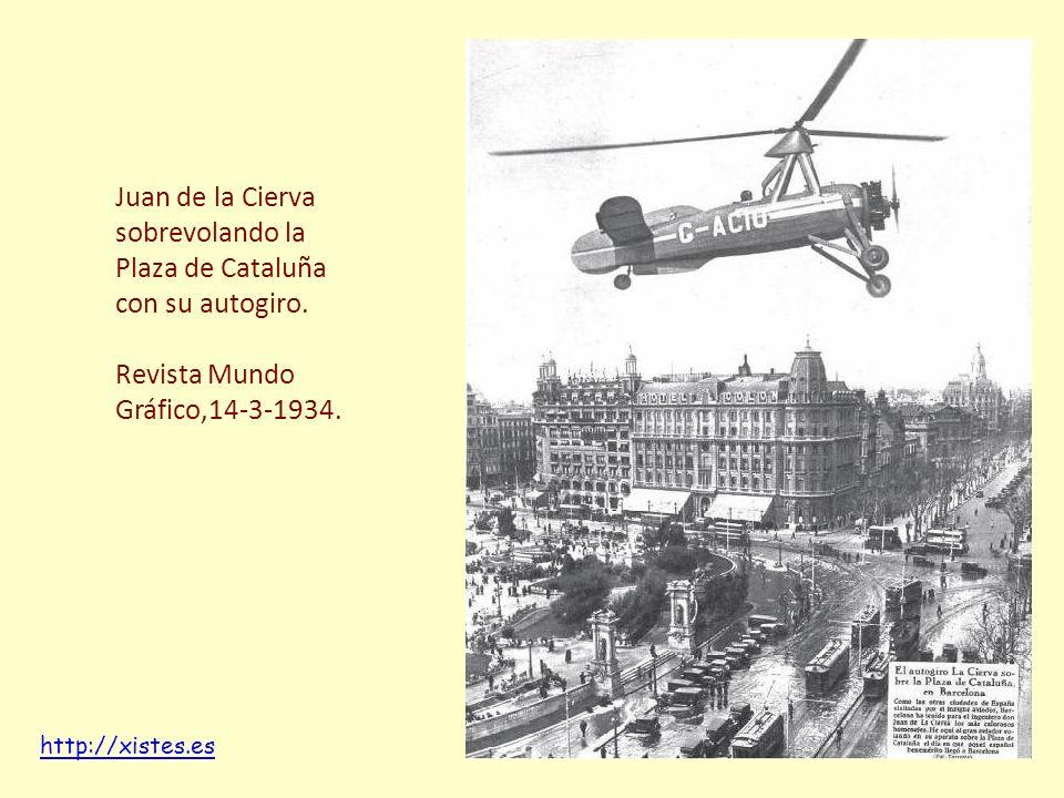 Juan de la Cierva sobrevolando la Plaza de Cataluña con su autogiro.