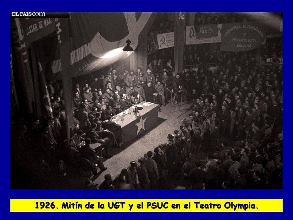 1926. Mitín de la UGT y el PSUC en el Teatro Olympia.
