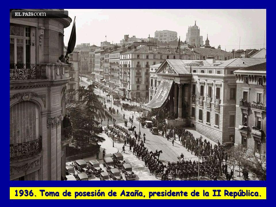 1936. Toma de posesión de Azaña, presidente de la II República.