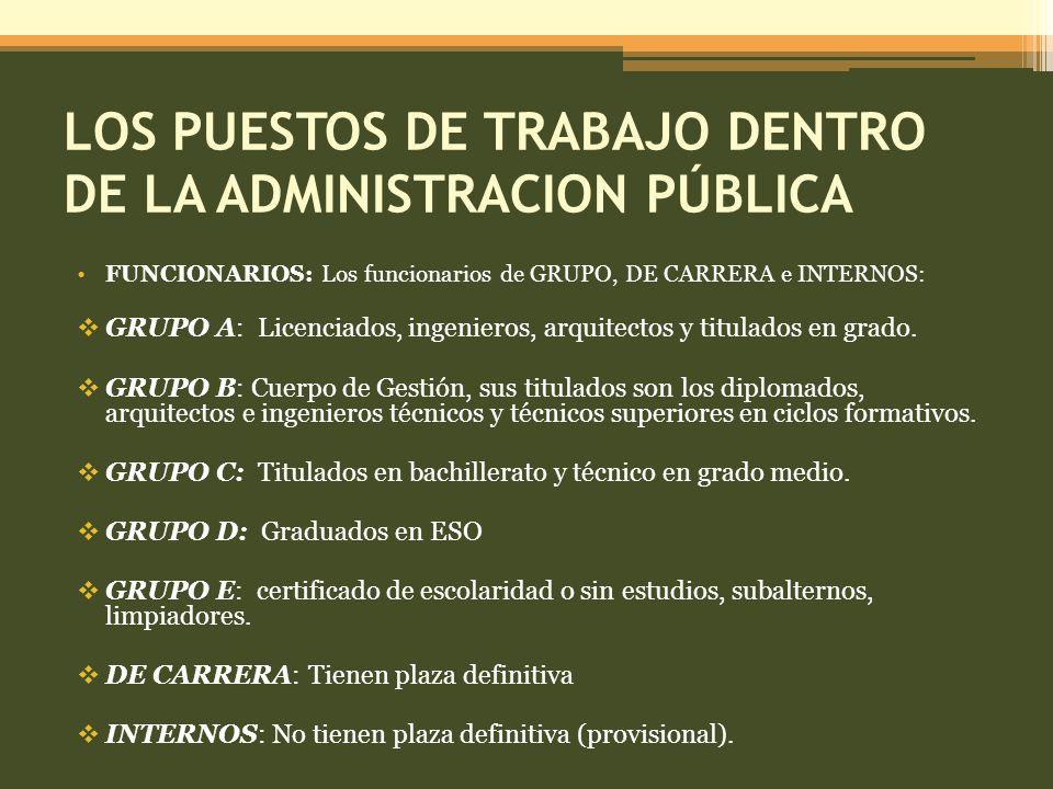 LOS PUESTOS DE TRABAJO DENTRO DE LA ADMINISTRACION PÚBLICA
