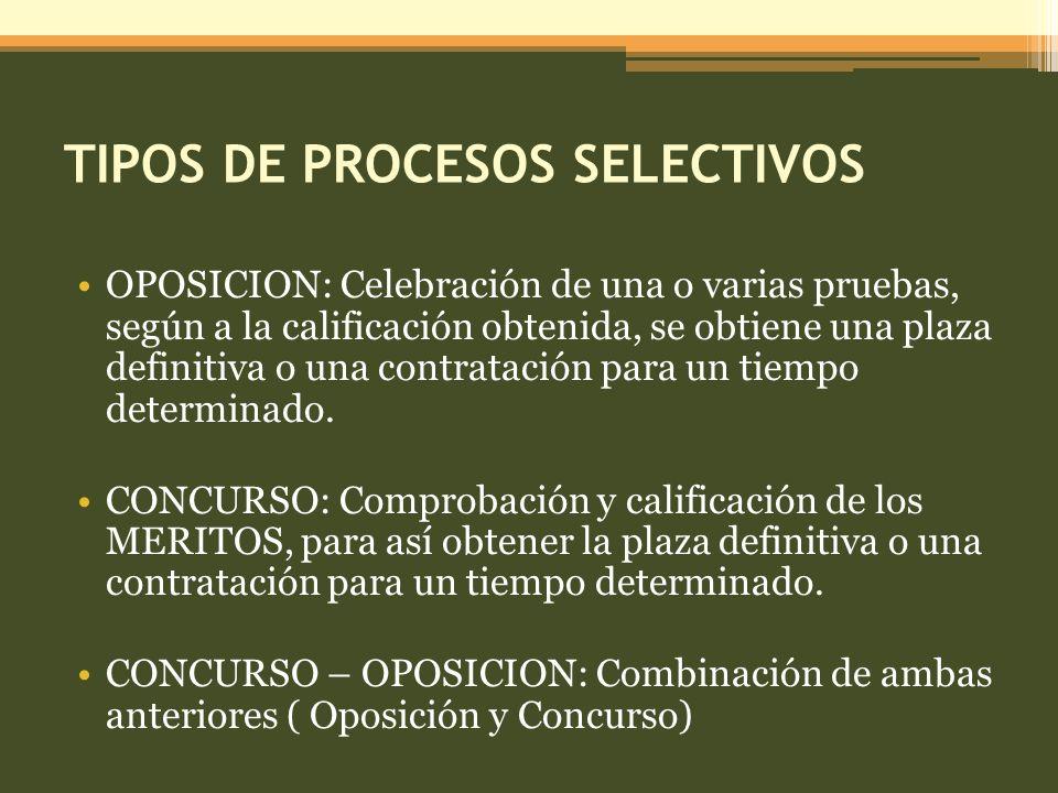 TIPOS DE PROCESOS SELECTIVOS