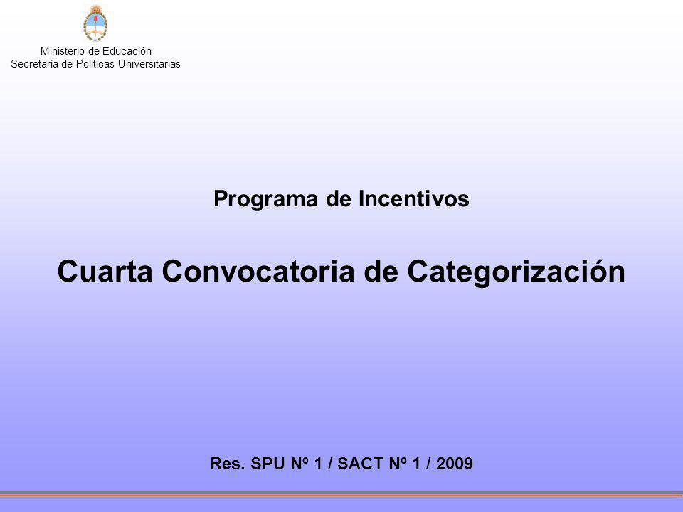 Programa de Incentivos Cuarta Convocatoria de Categorización