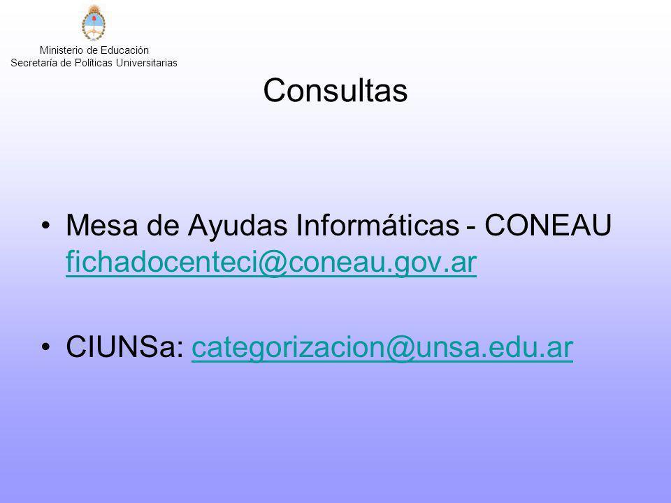 Consultas Mesa de Ayudas Informáticas - CONEAU fichadocenteci@coneau.gov.ar.