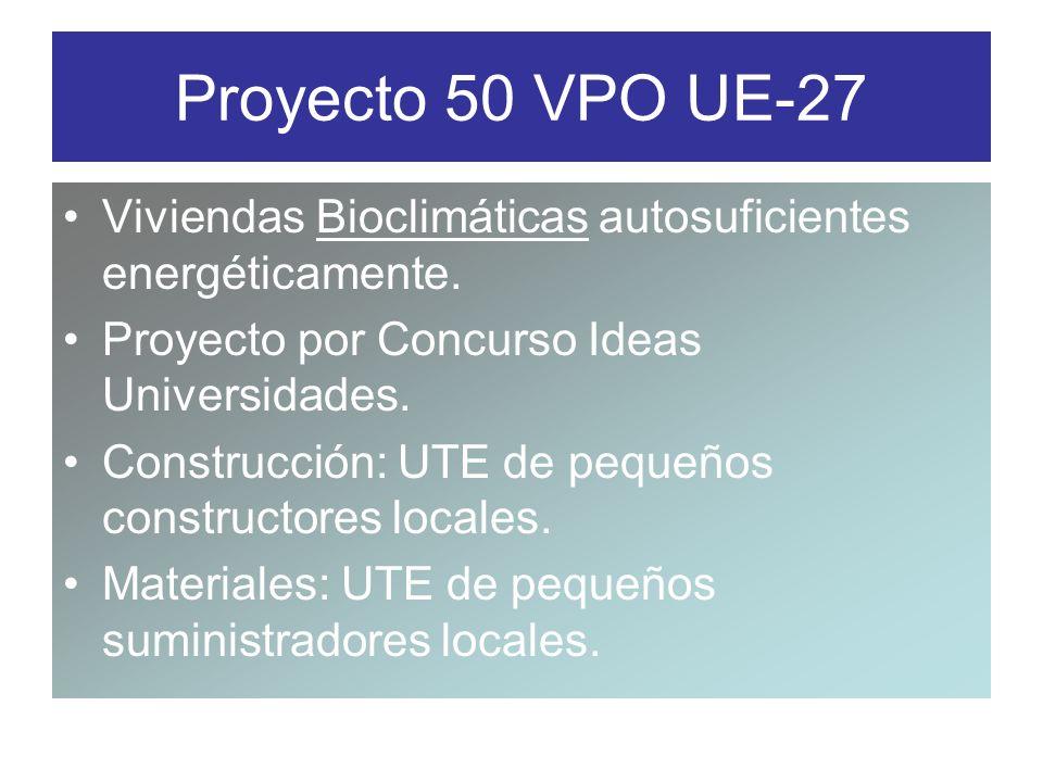 Proyecto 50 VPO UE-27 Viviendas Bioclimáticas autosuficientes energéticamente. Proyecto por Concurso Ideas Universidades.