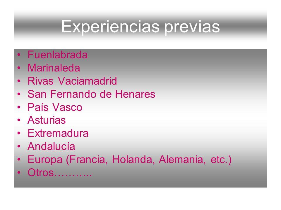 Experiencias previas Fuenlabrada Marinaleda Rivas Vaciamadrid