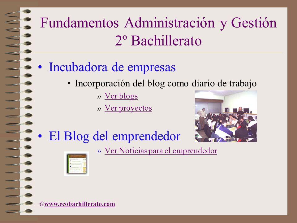 Fundamentos Administración y Gestión 2º Bachillerato