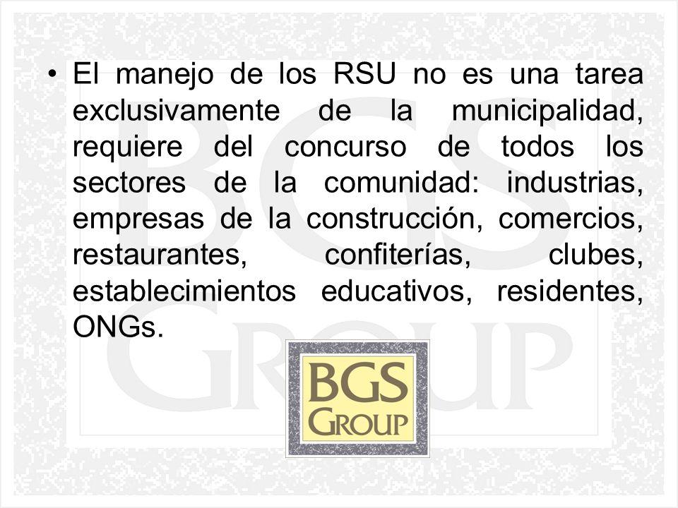 El manejo de los RSU no es una tarea exclusivamente de la municipalidad, requiere del concurso de todos los sectores de la comunidad: industrias, empresas de la construcción, comercios, restaurantes, confiterías, clubes, establecimientos educativos, residentes, ONGs.
