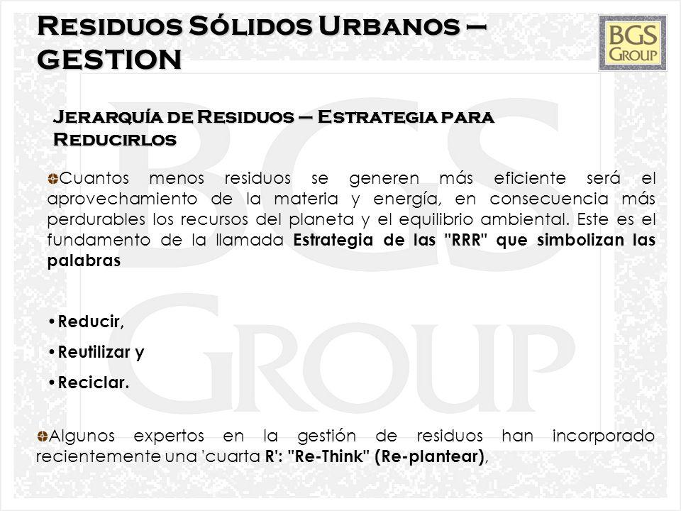 Residuos Sólidos Urbanos – GESTION