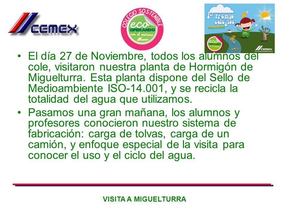 El día 27 de Noviembre, todos los alumnos del cole, visitaron nuestra planta de Hormigón de Miguelturra. Esta planta dispone del Sello de Medioambiente ISO-14.001, y se recicla la totalidad del agua que utilizamos.