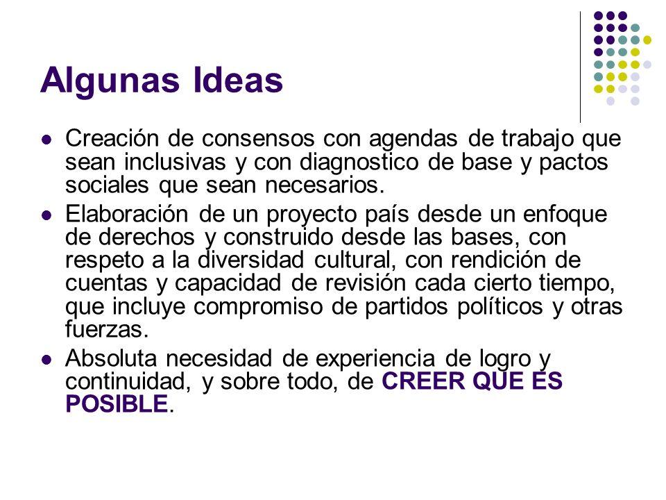 Algunas Ideas Creación de consensos con agendas de trabajo que sean inclusivas y con diagnostico de base y pactos sociales que sean necesarios.
