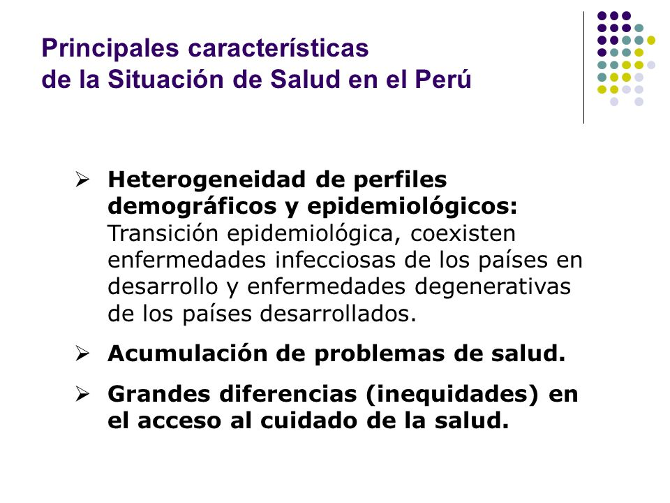 Principales características de la Situación de Salud en el Perú
