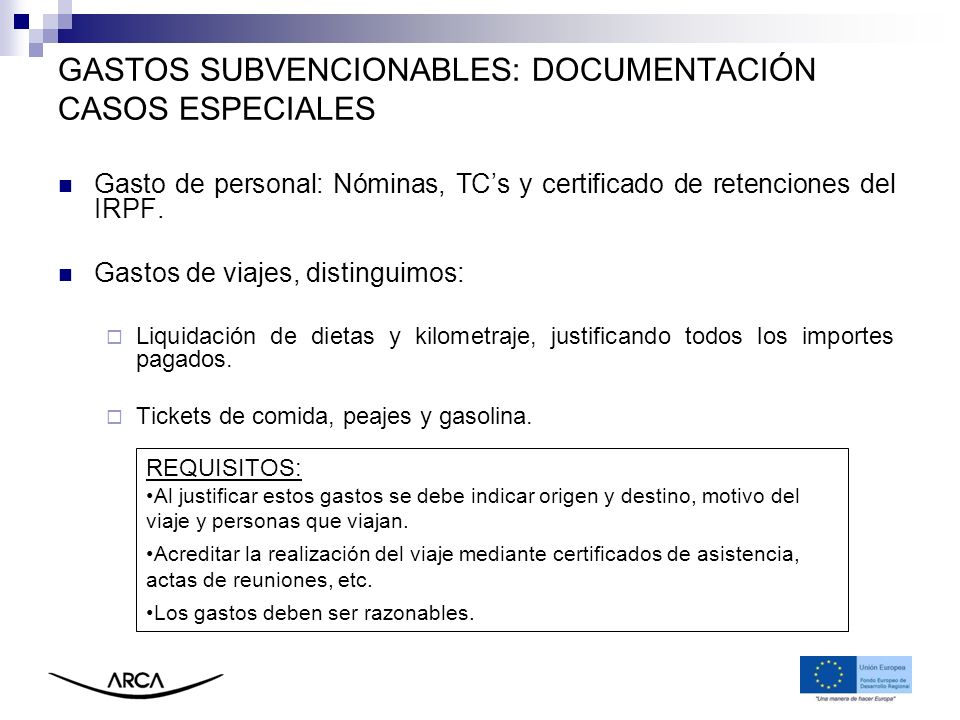 GASTOS SUBVENCIONABLES: DOCUMENTACIÓN CASOS ESPECIALES