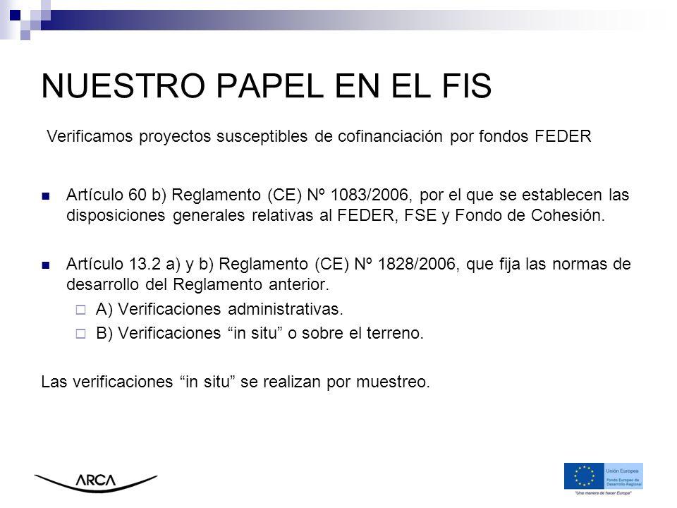 NUESTRO PAPEL EN EL FIS Verificamos proyectos susceptibles de cofinanciación por fondos FEDER.