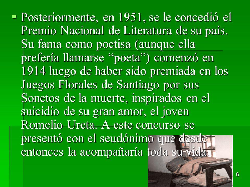 Posteriormente, en 1951, se le concedió el Premio Nacional de Literatura de su país.