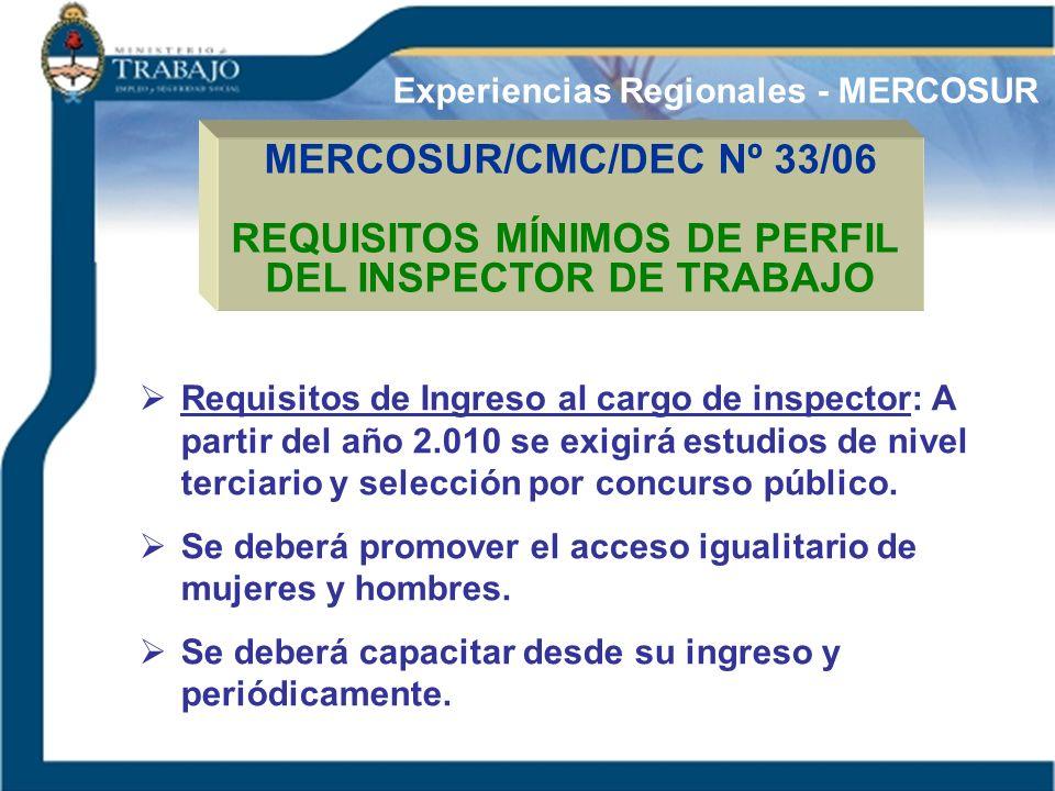 REQUISITOS MÍNIMOS DE PERFIL DEL INSPECTOR DE TRABAJO