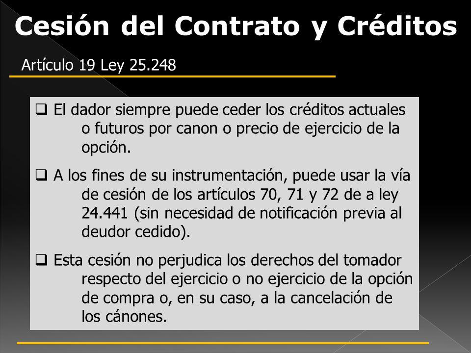 Cesión del Contrato y Créditos