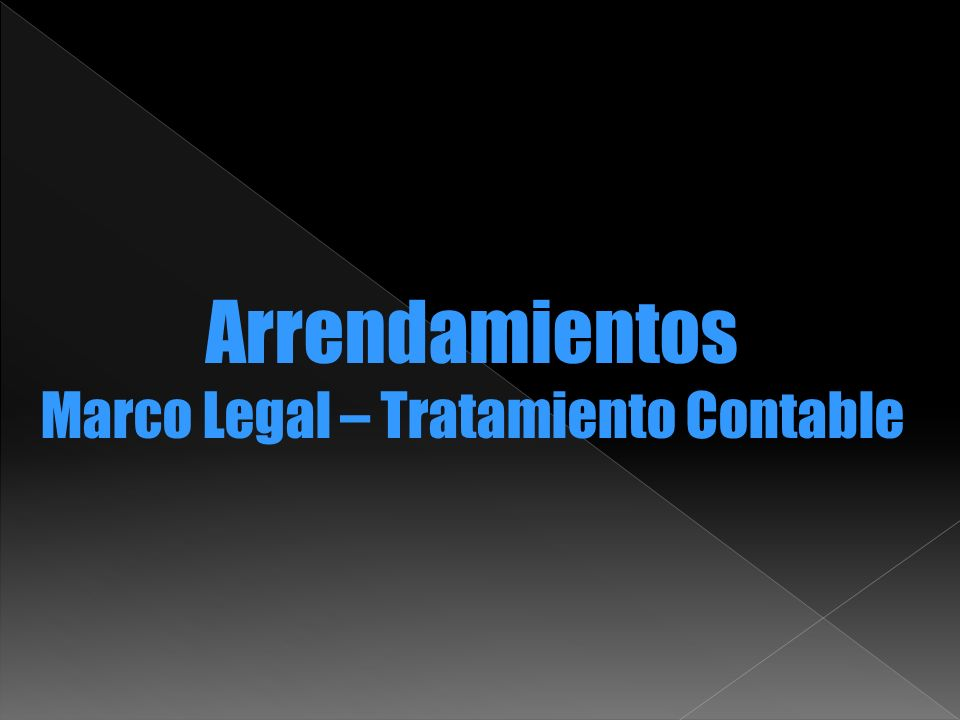 Marco Legal – Tratamiento Contable