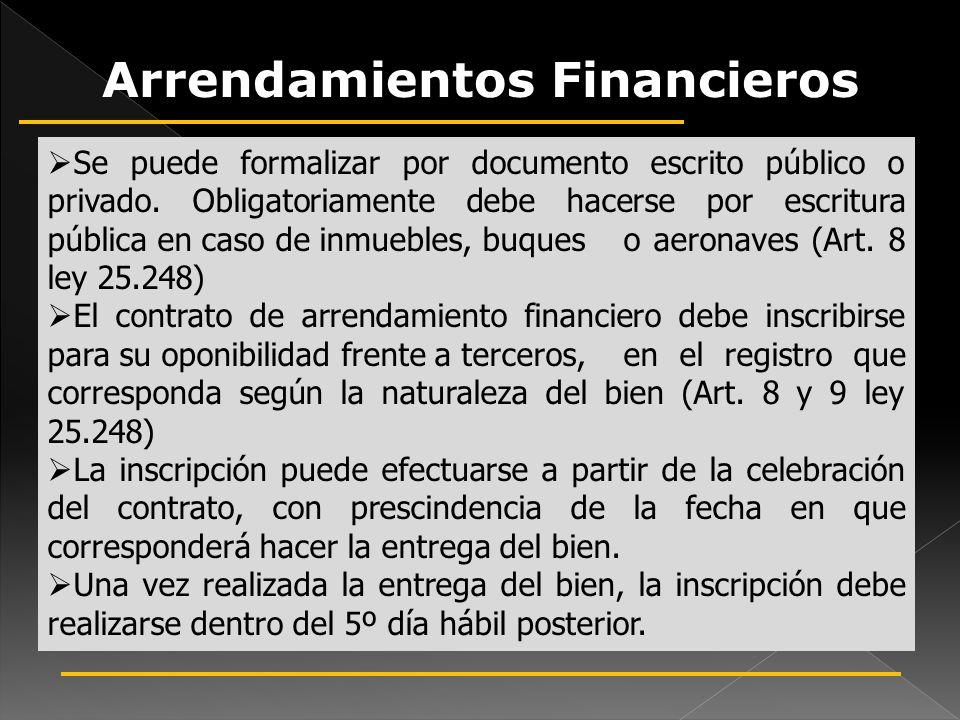 Forma e Inscripción de los Arrendamientos Financieros