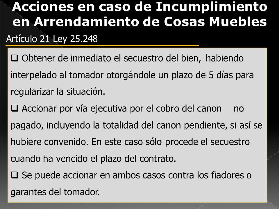 Acciones en caso de Incumplimiento en Arrendamiento de Cosas Muebles