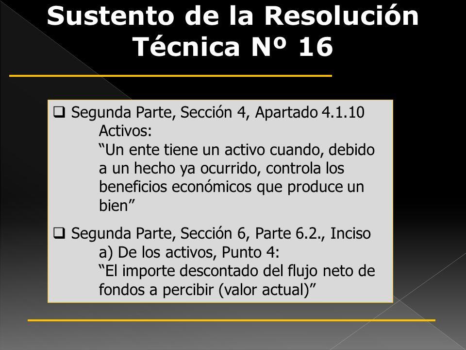 Sustento de la Resolución Técnica Nº 16