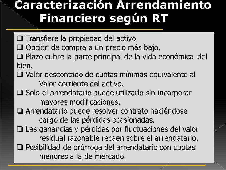Caracterización Arrendamiento Financiero según RT 18