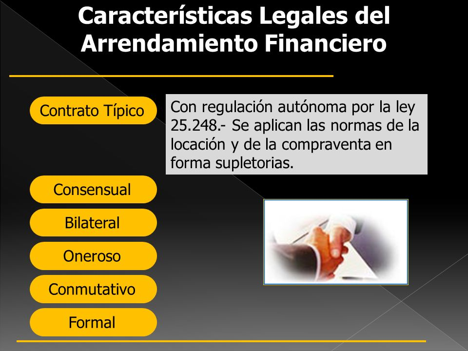 Características Legales del Arrendamiento Financiero